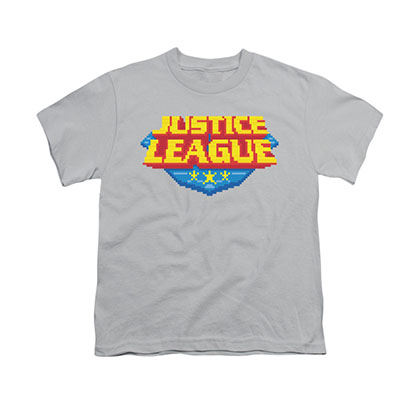 Justice League 8-Bit Logo Gray Youth Unisex T-Shirt