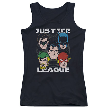 Justice League Head Of States Black Juniors Tank Top