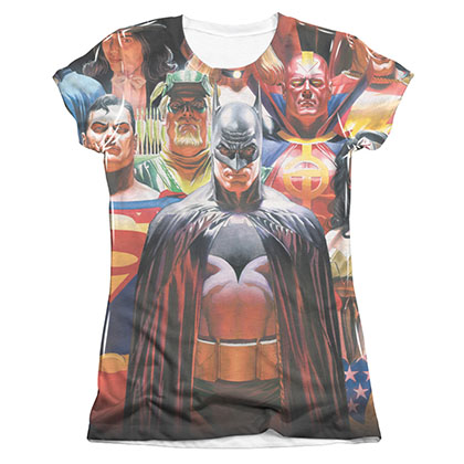 Justice League Wall Of Heroes Sublimation Juniors T-Shirt