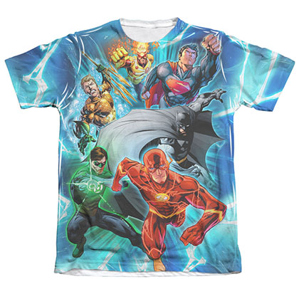 Justice League Lightning Team Sublimation White T-Shirt