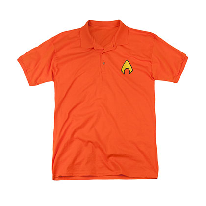 Aquaman Logo Men's Orange Polo Shirt
