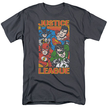 Justice League Mashup Gray T-Shirt