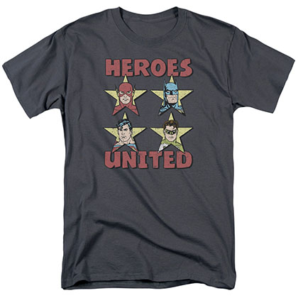Justice League Heroes United Stars Gray T-Shirt