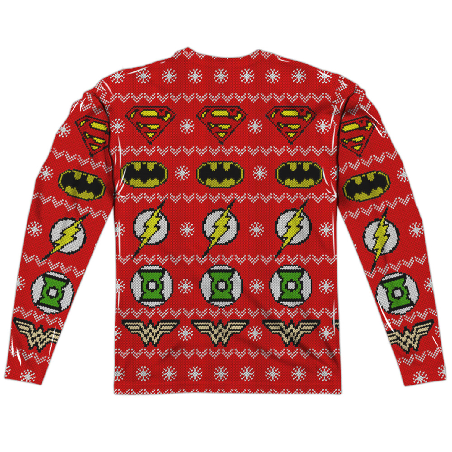 03c09dab Justice League Ugly Christmas Sweater Print Long Sleeve Tee |  SuperheroDen.com