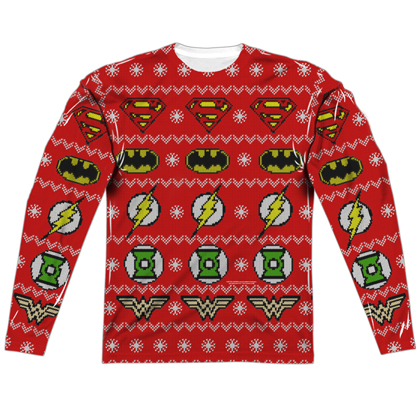 Justice League Ugly Christmas Sweater Print Long Sleeve Tee