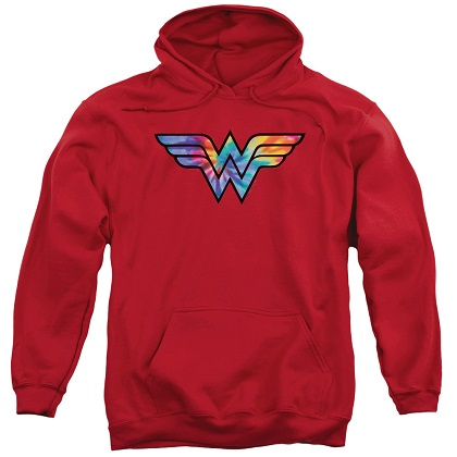 Wonder Woman Tie Dye Logo Red Hoodie