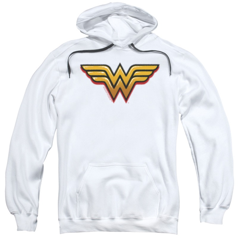 Wonder Woman Airbrushed Logo White Hoodie