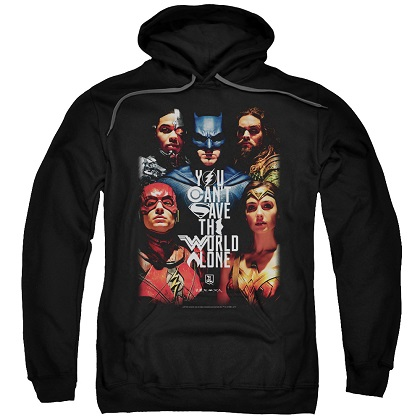 Justice League Can't Save The World Alone Black Hoodie
