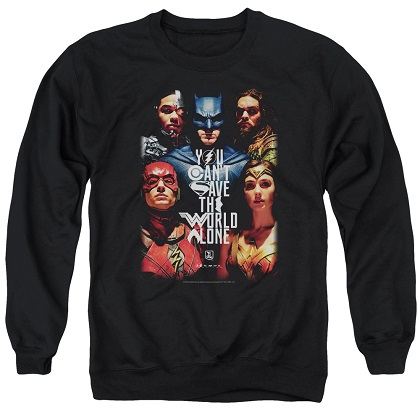 Justice League Can't Save The World Alone Crewneck Sweatshirt