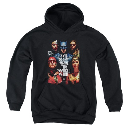 Justice League Can't Save The World Alone Youth Hoodie