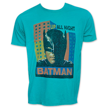 Junk Food Brand Batman Up All Night Teal T-Shirt