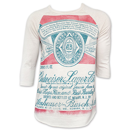 Men's Junk Food Brand Budweiser Beer Can Baseball Tee Shirt