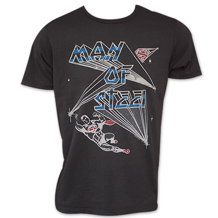 Men's Black Vintage Junk Food Man Of Steel Superman Tee Shirt