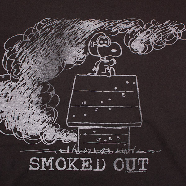 Men's Black Junk Food Snoopy Smoked Out T-Shirt
