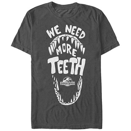 Jurassic Park More Teeth Gray T-Shirt
