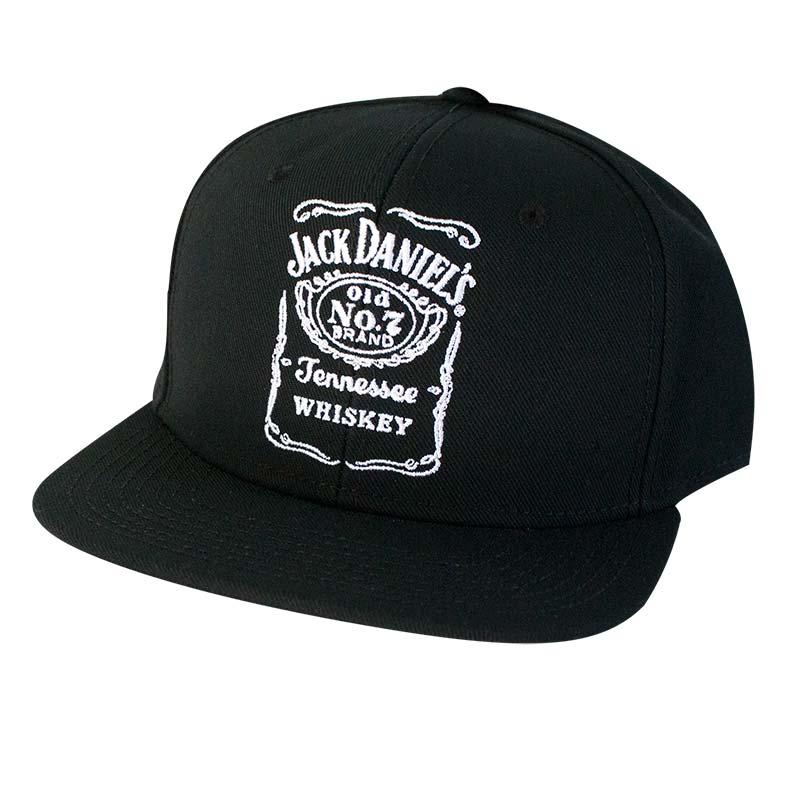 Jack Daniels Black Bottle Label Snapback Hat