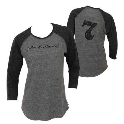 Jack Daniels Women's Grey 3/4 Sleeve Baseball Shirt