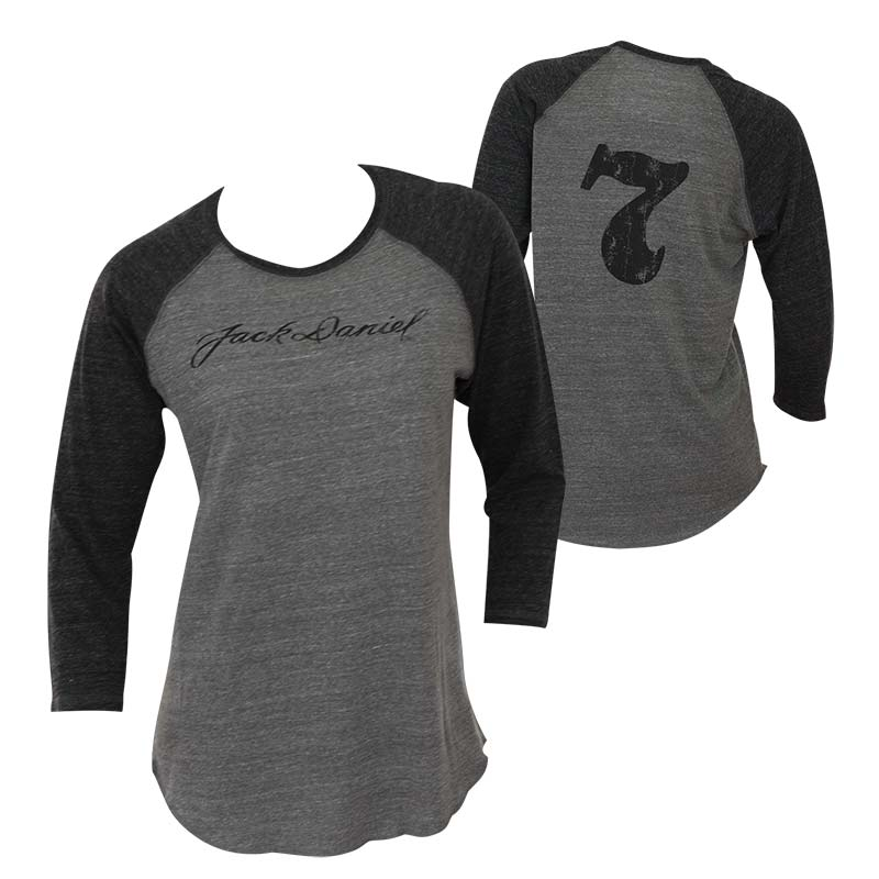 f18c33e2 Jack Daniels Women's Grey 3/4 Sleeve Baseball Shirt