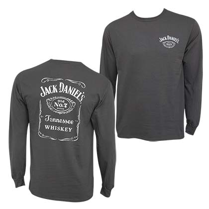 Jack Daniel's Bottle Label Long Sleeve Men's Grey Tee Shirt