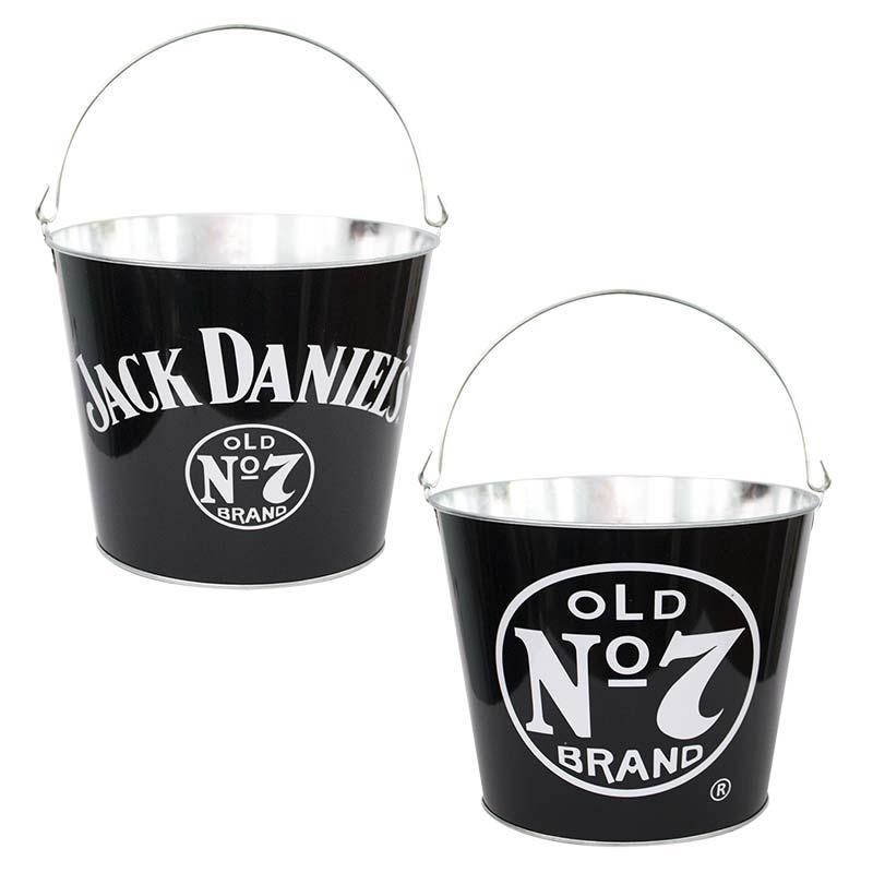 Jack Daniels Logo Black Metal Bucket