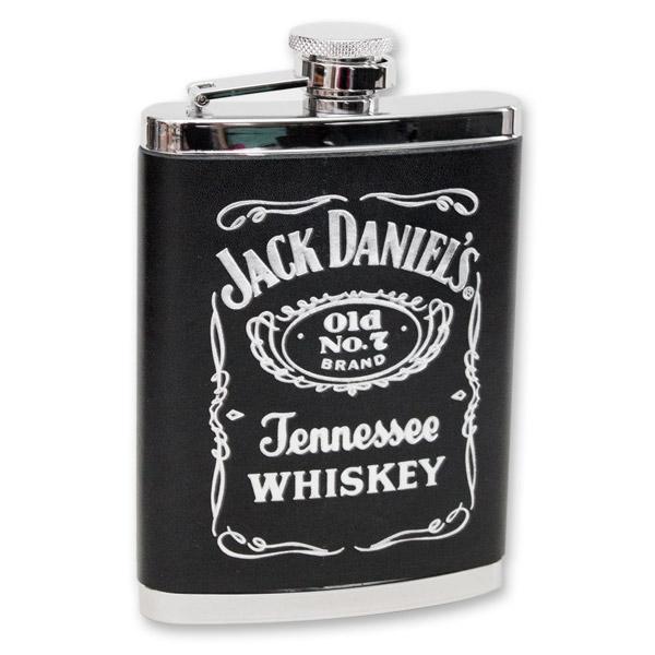 Jack Daniel's Old No. 7 Label Leather Flask