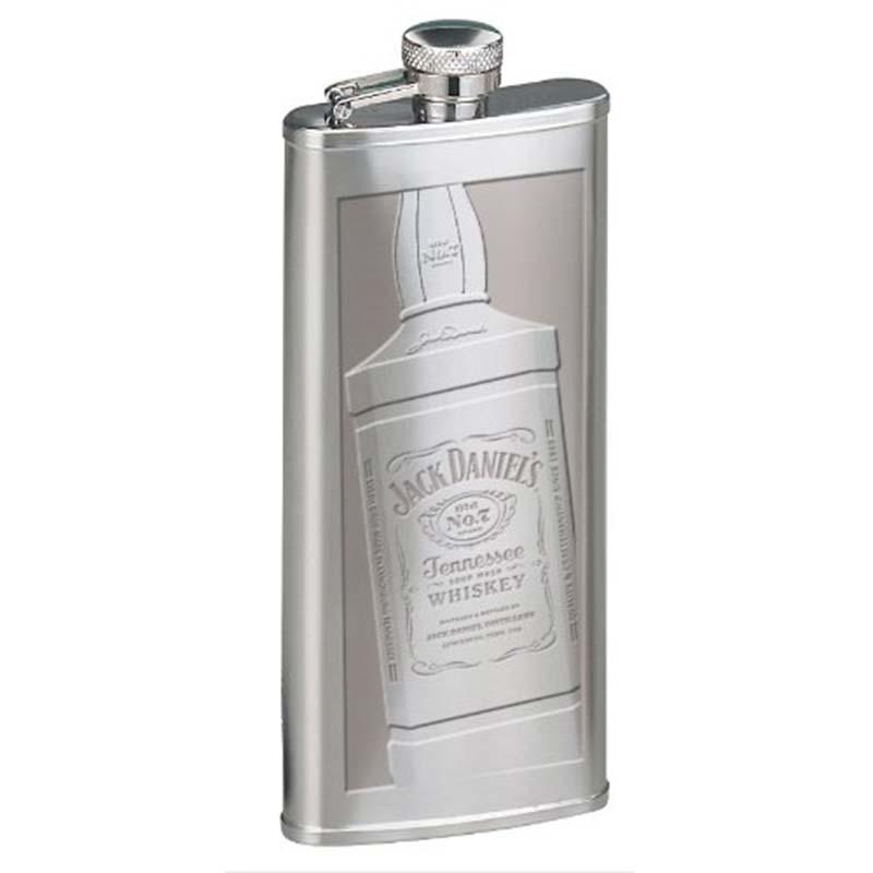 Jack Daniels Etched Bottle Silver Flask