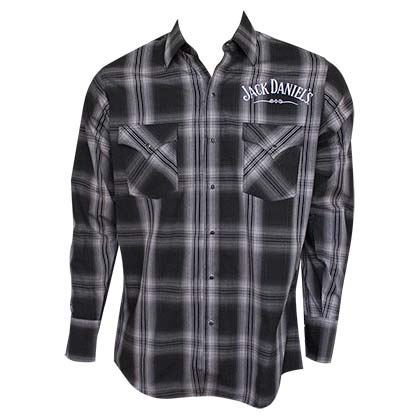 Jack Daniels Long Sleeve Black and White Plaid Button Up Shirt