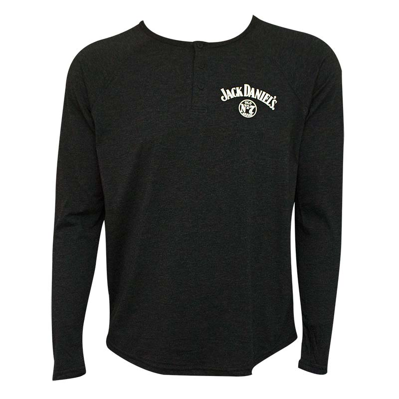 Jack Daniel's Long Sleeve Henley Men's Tee Shirt