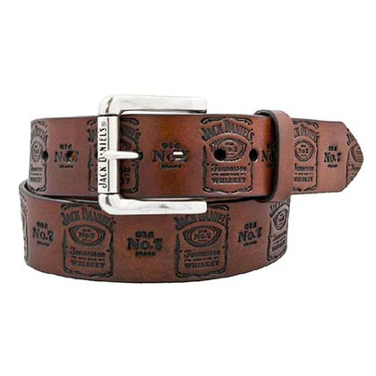 Jack Daniels Brown Leather Stamped Belt