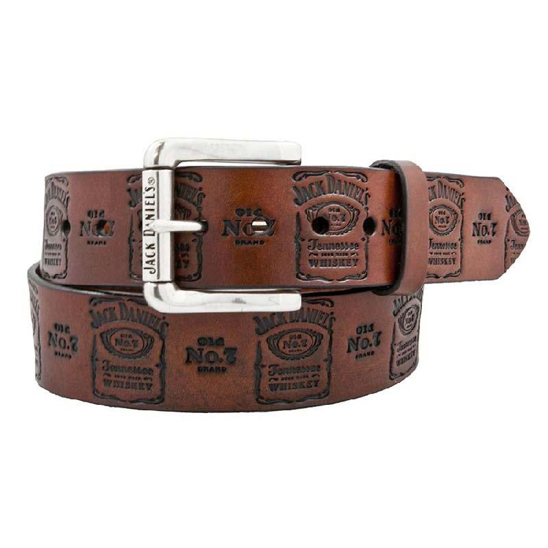 Jack Daniels Stamped Genuine Leather Brown Belt
