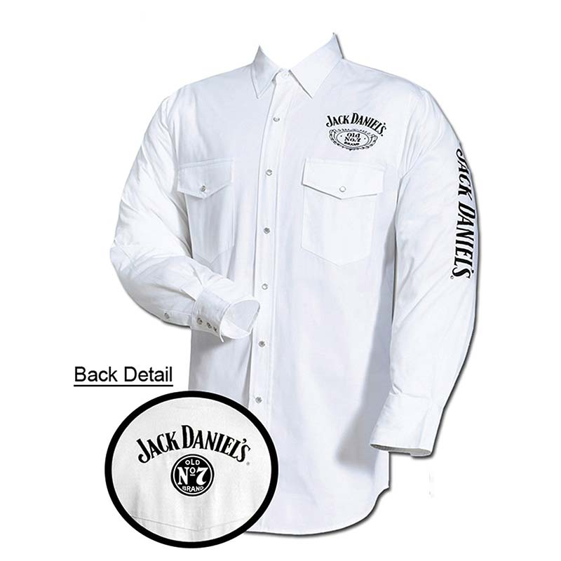 Jack Daniel's Logo Long Sleeve White Button Down Western Shirt