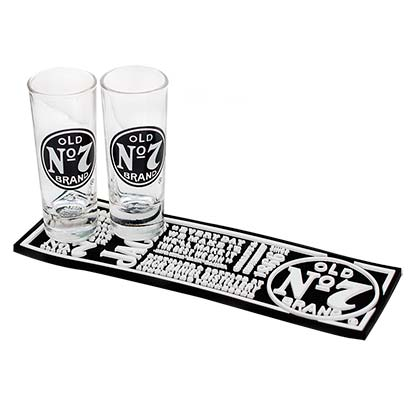 Jack Daniels Shot Glass Bar Mat Set