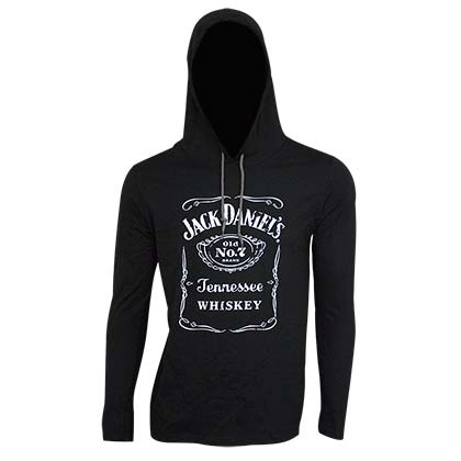 Jack Daniel's Classic Logo Long Sleeve Black Men's Hooded Tee Shirt