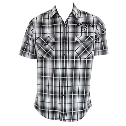 Jack Daniels Men's Black & White Plaid Button Down Shirt