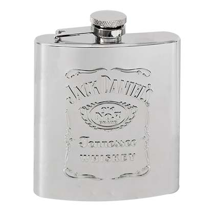 Jack Daniels No. 7 Silver Raised Logo Flask