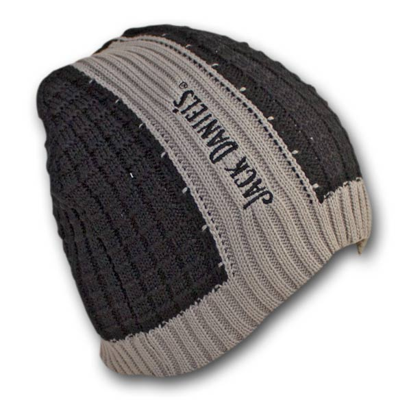 Jack Daniels Ribbed Black Gray Winter Knit Beanie Hat