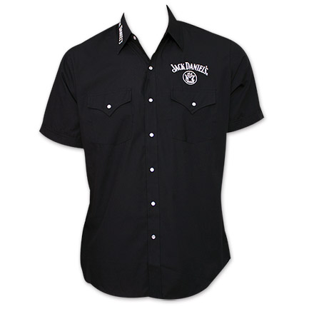 Jack Daniel's Logo Button Up Short Sleeve Shirt - Black
