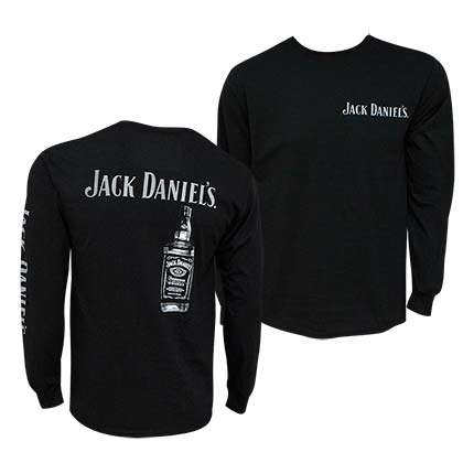 Jack Daniels Bottle Black Long Sleeve Tee Shirt
