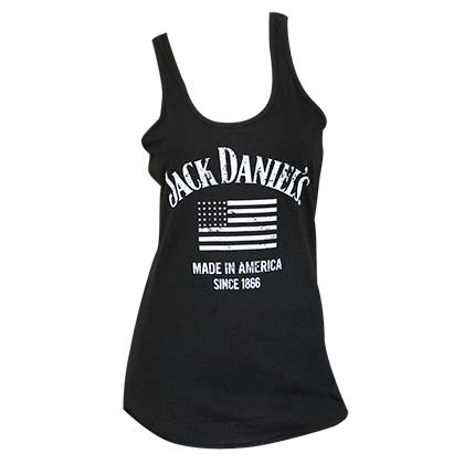 Jack Daniels Made In America Black Ladies Tank Top