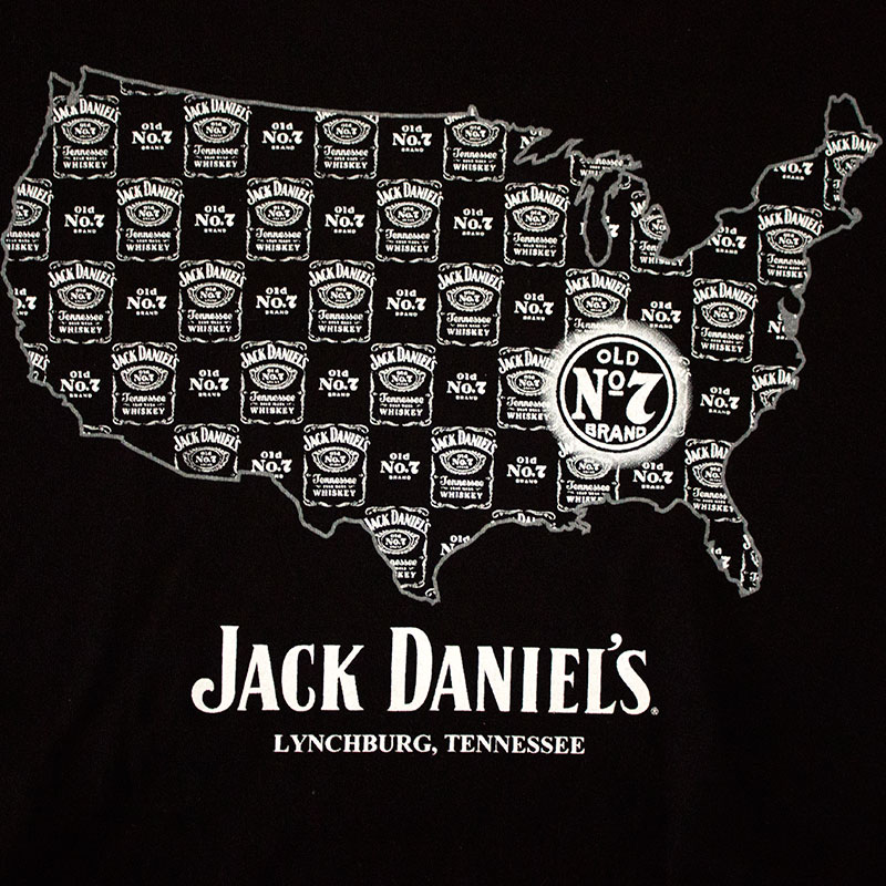 Jack Daniel's Tennessee Whiskey America Map Tee Shirt