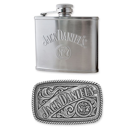 Jack Daniels Flask And Belt Buckle Set
