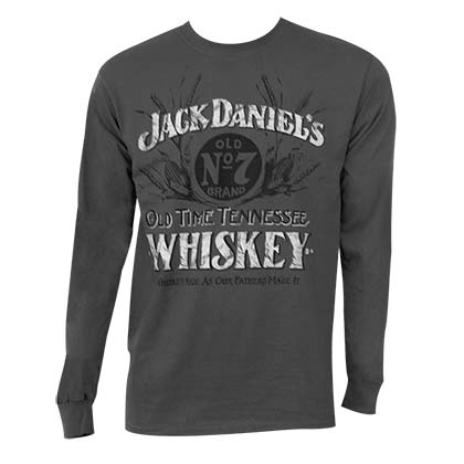 Jack Daniels Men's Grey Long Sleeve Whiskey Shirt