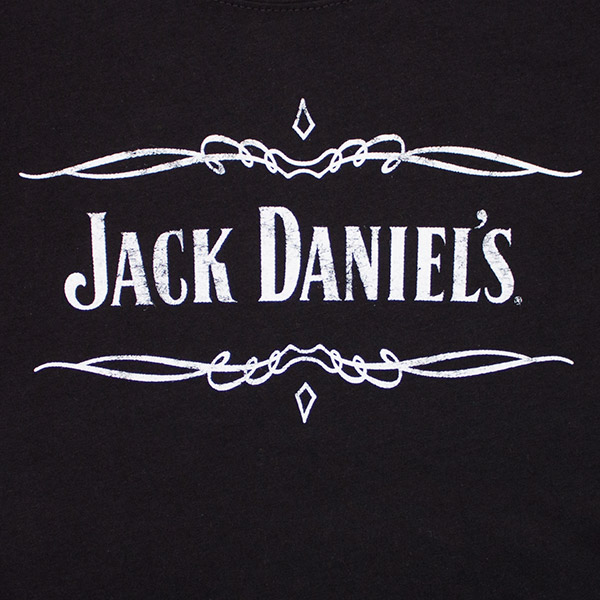 Jack Daniel's Black & White Layered Women's Tshirt Jack Daniels Logo Stencil