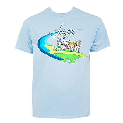 The Jetsons Men's Light Blue Flying Saucer T-Shirt