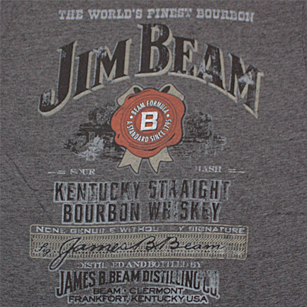 Jim Beam Distressed Label Charcoal Heather Graphic TShirt