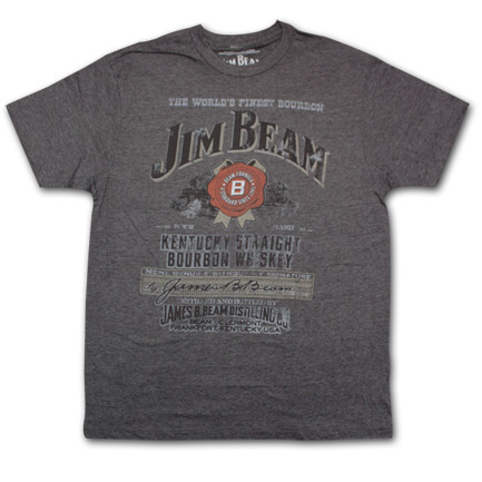 Jim Beam Distressed Label Charcoal Heather Graphic Tee Shirt