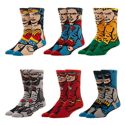 Justice League 6-Pack Men's Character Crew Socks