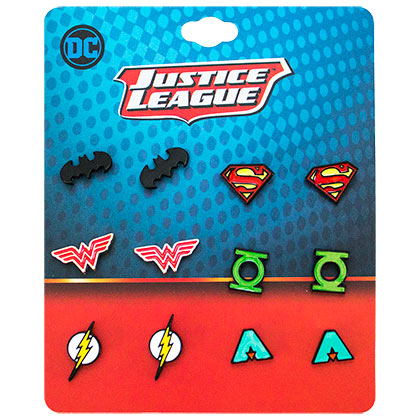 Justice League Superhero Logo Earrings 6-Pack