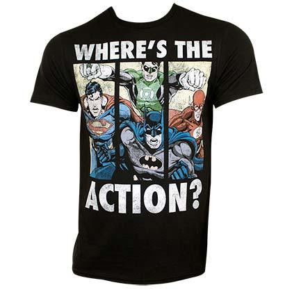 Justice League Men's Black Where's The Action T-Shirt