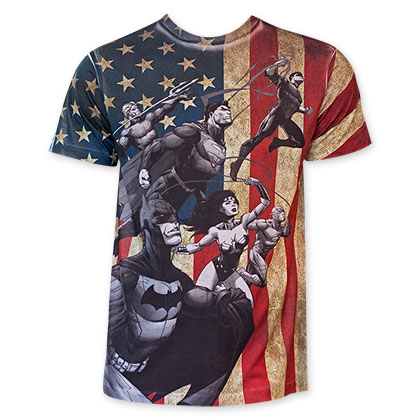 DC Comics Black And White On American Flag Sublimated T-Shirt